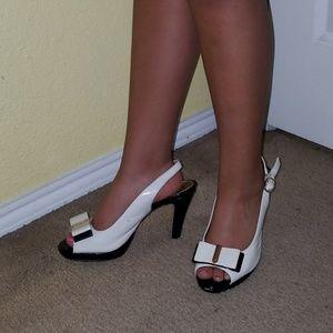 AK heels Vanilla Cream with Black